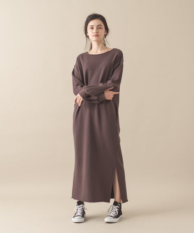 Sweat Maxi Dress - BROWN