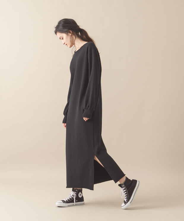 Sweat Maxi Dress - BLACK