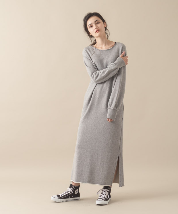 Sweat Maxi Dress - GRAY