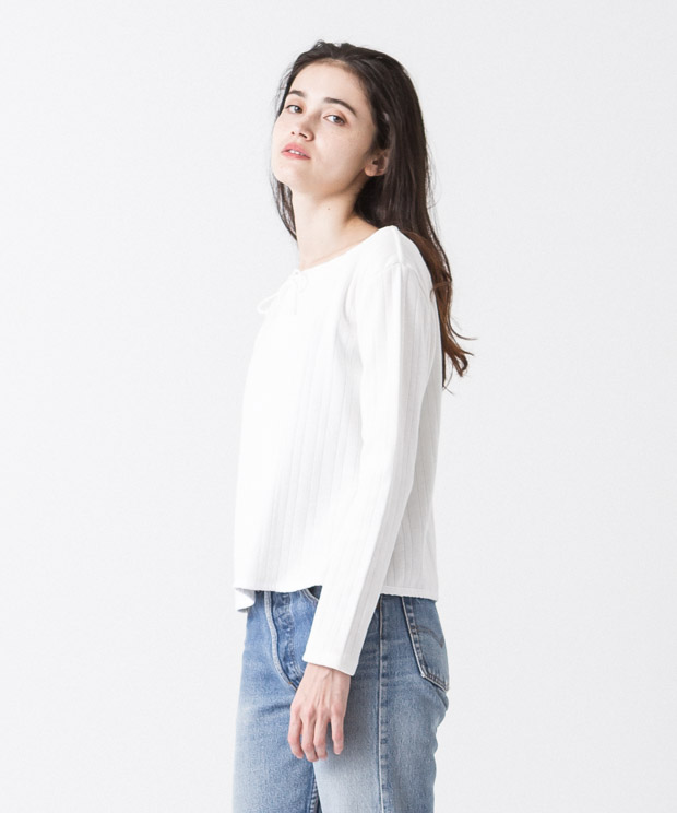 Neck Design Pullover - WHITE