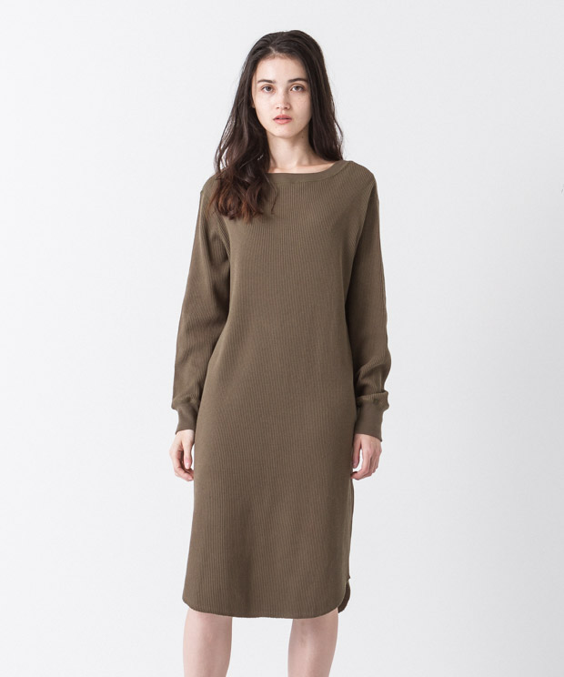 2Way Waffle Dress - KHAKI