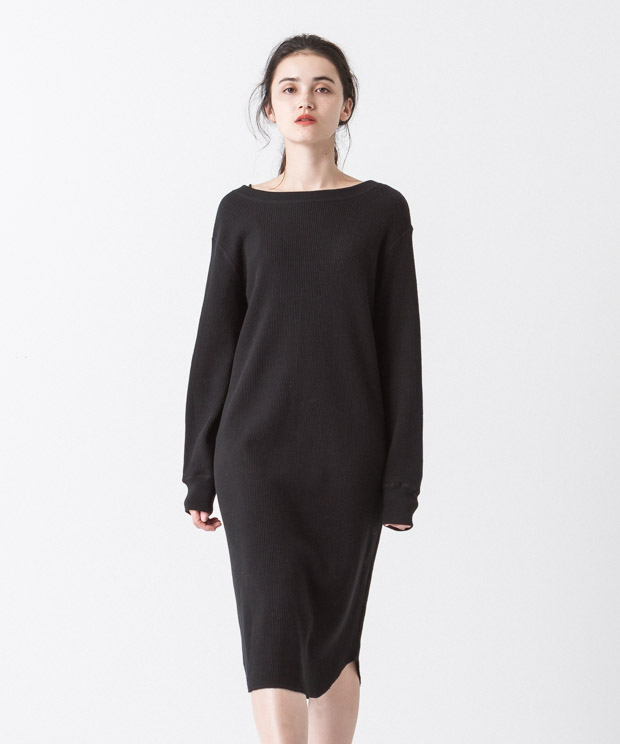 2Way Waffle Dress - BLACK