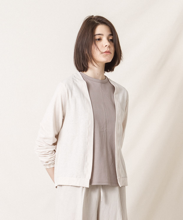 Cotton Linen Buttonless Cardigan - IVORY