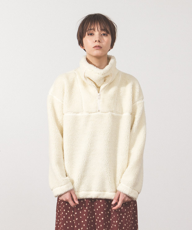 Half Zip Boa Fleece Blouson - OFF WHITE