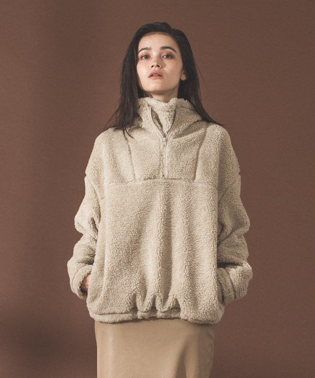 Half Zip Boa Fleece Blouson - BEIGE