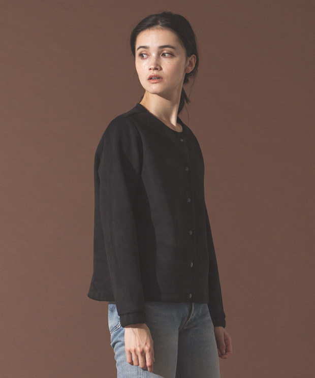 Vegan Suede Crewneck Cardigan - BLACK