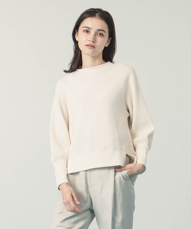 Big Waffle Volume Sleeves Pullover  - IVORY