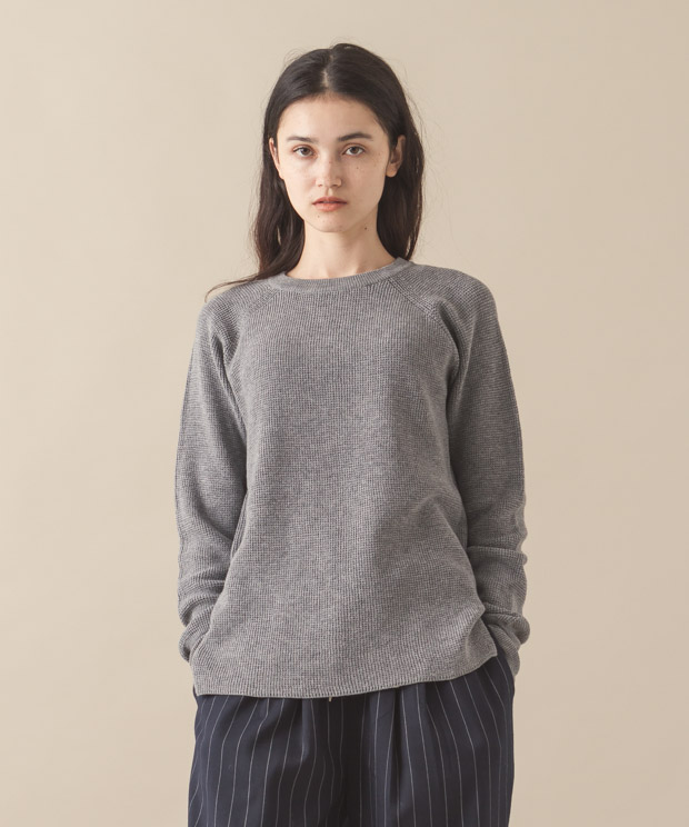Waffle Crewneck Pullover - GRAY