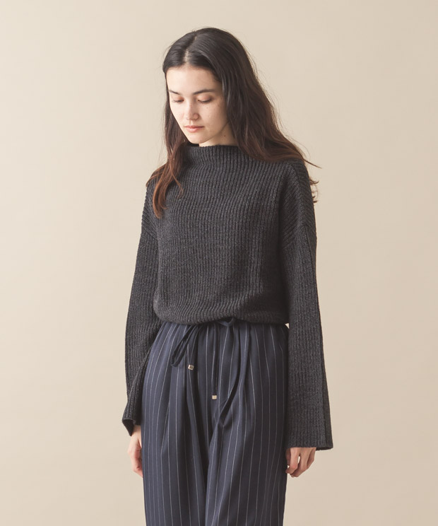 High-Neck Knit - CHARCOAL