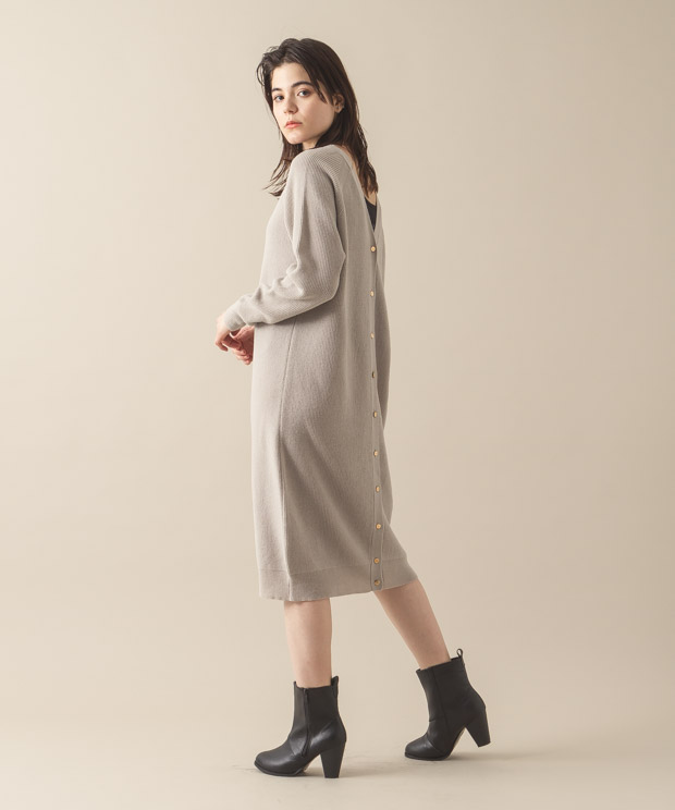 2Way Knit Dress - GRAY BEIGE