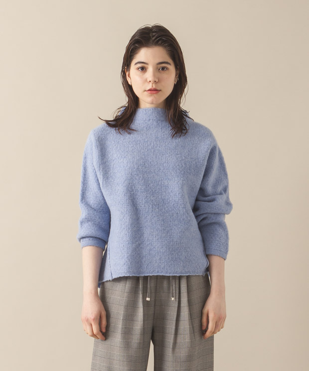 High-Neck Pullover Knit - SAX
