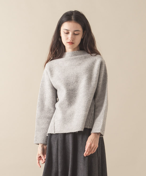High-Neck Pullover Knit - GRAY
