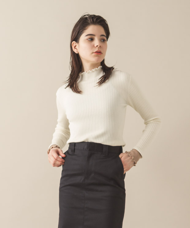 Frill Rib Turtle Neck - NATURAL/BEIGE