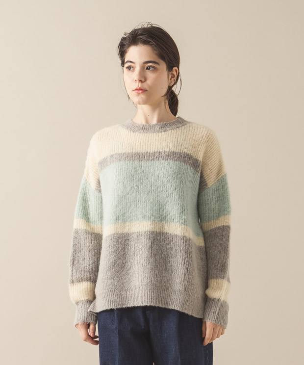 Shaggy Mohair Border Knit - Pattern C