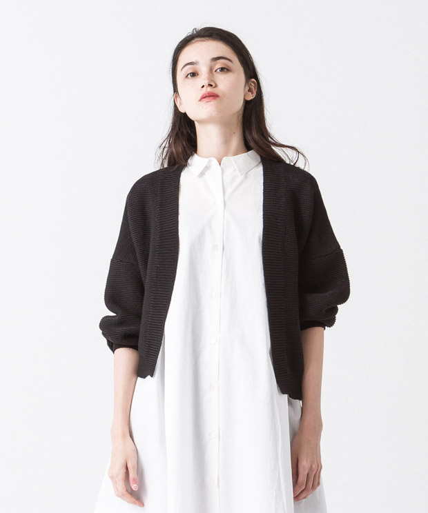 Volume Sleeves Cardigan - BLACK