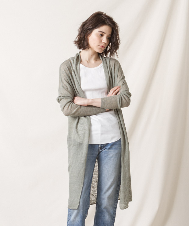 Linen Long Cardigan - GREEN