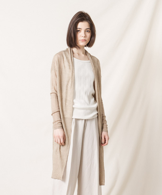 Linen Long Cardigan - BEIGE