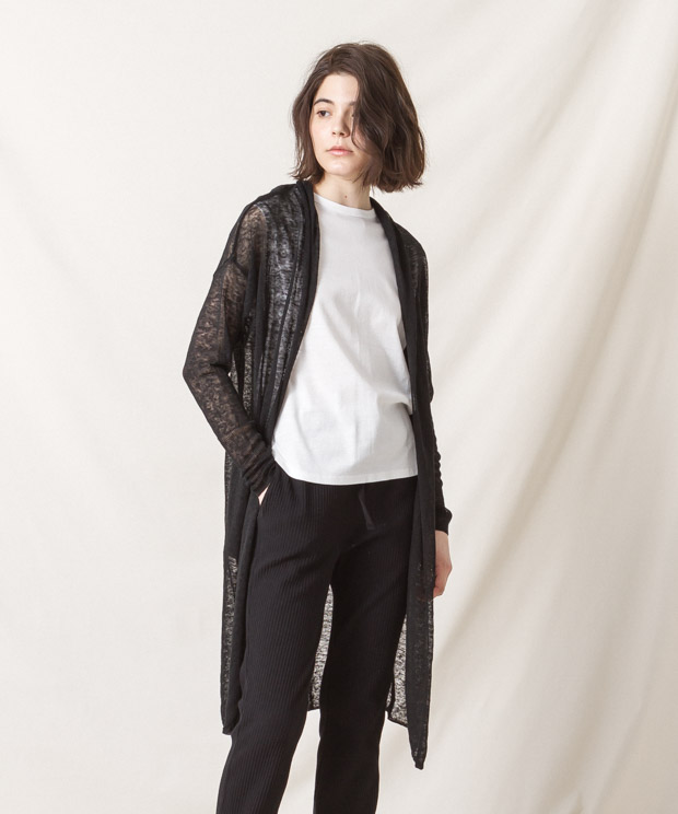 Linen Long Cardigan - BLACK