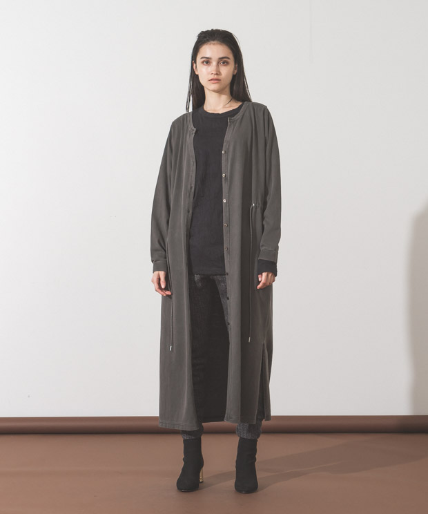 Pigment Dyed Long Cardigan - BLACK