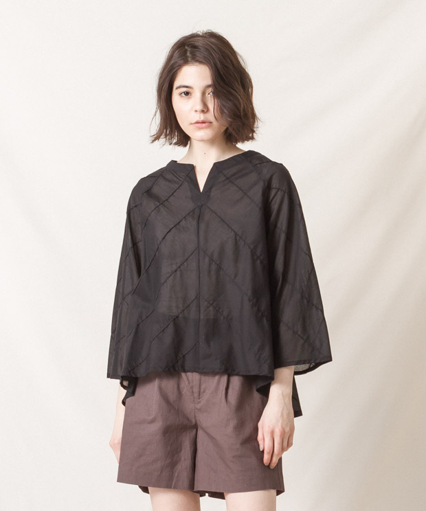 Pin-Tucked Blouse - BLACK