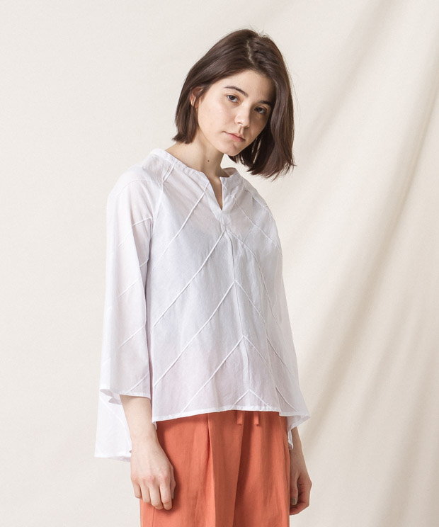 Pin-Tucked Blouse - WHITE