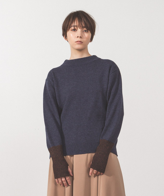 Back Slit High-Neck Knit - NAVY