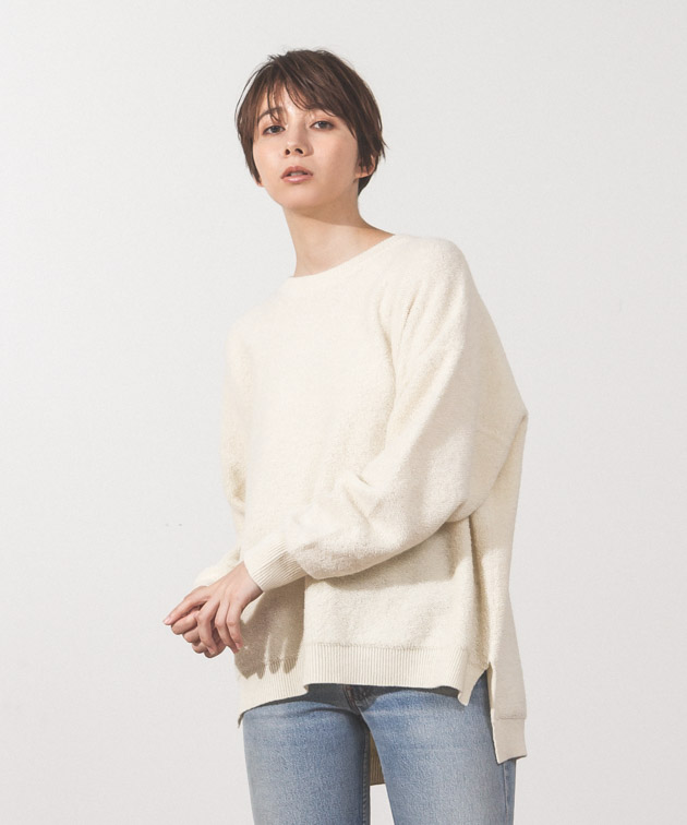 Oversized Crewneck Knit - WHITE