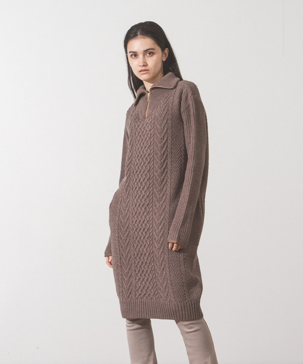 Half Zip Aran Knit Dress  - MOCHA