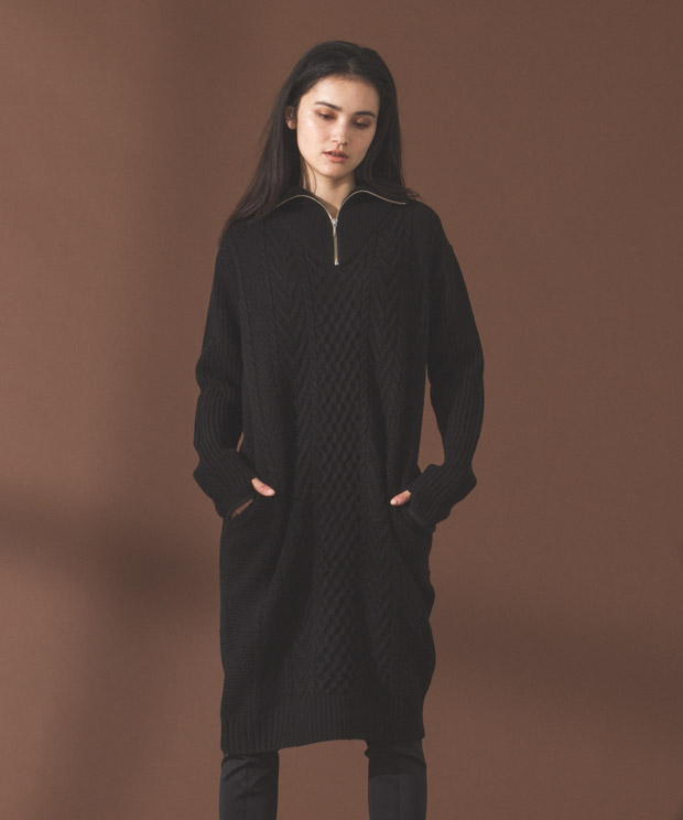 Half Zip Aran Knit Dress  - BLACK