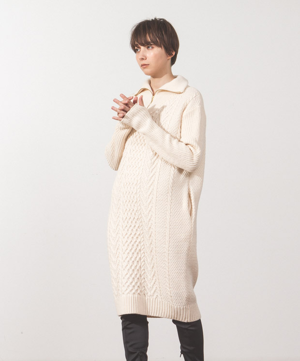 Half Zip Aran Knit Dress  - WHITE