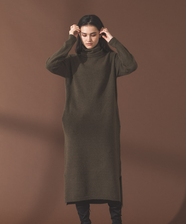 Turtleneck Knit Dress - KHAKI