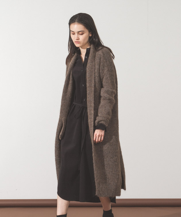 Alpaca Knit Gown - BROWN