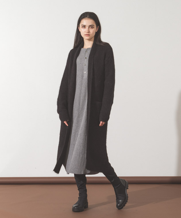 Alpaca Knit Gown - BLACK