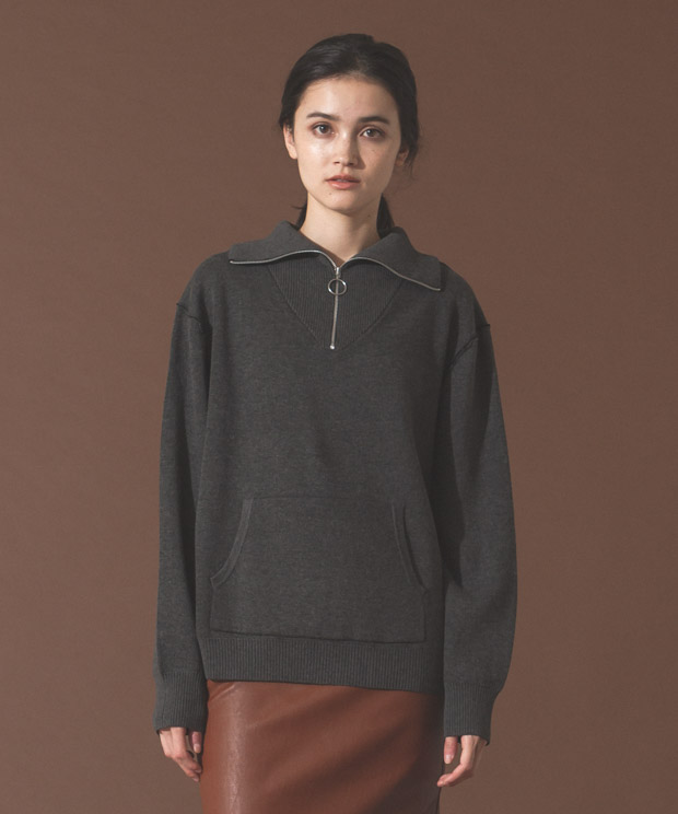 Double Face Half Zip Knit - CHARCOAL
