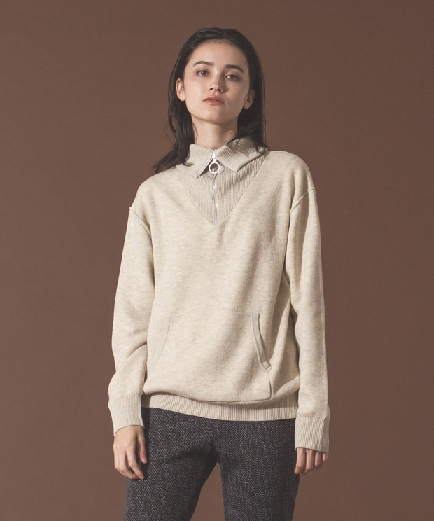 Double Face Half Zip Knit - IVORY