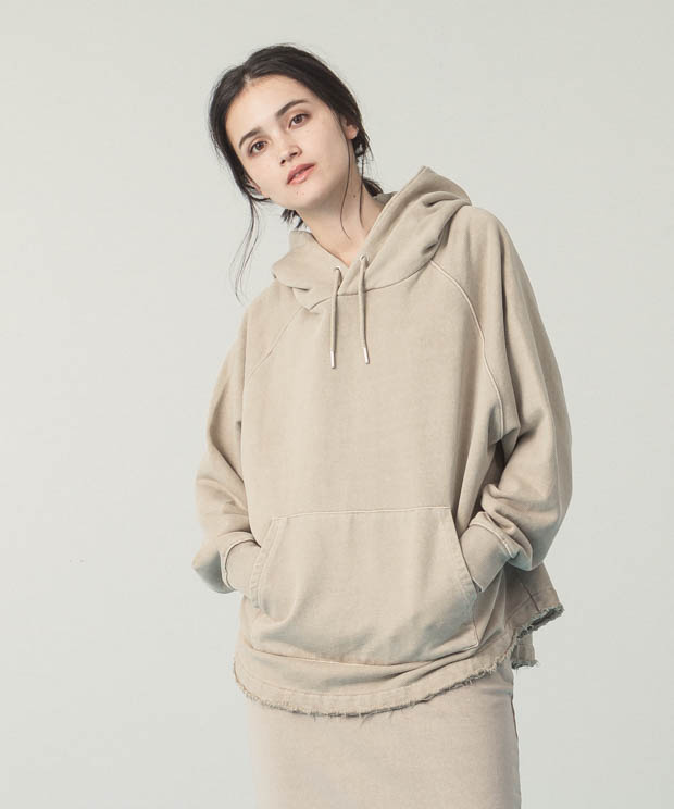 Pigment Dyed Sweat Hoodie - BEIGE