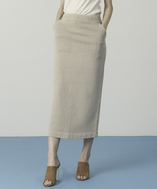Pigment Dyed Sweat Skirt - BEIGE