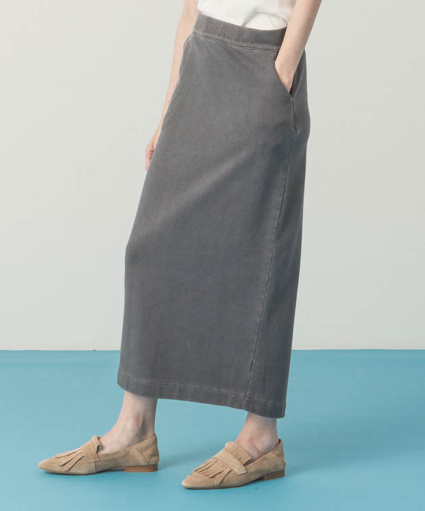 Pigment Dyed Sweat Skirt - BLACK