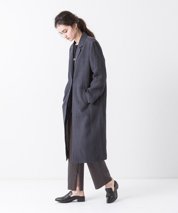 Linen Chesterfield Coat - NAVY