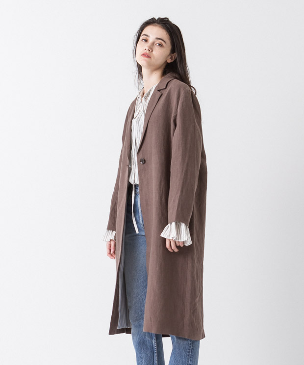 Linen Chesterfield Coat - BROWN