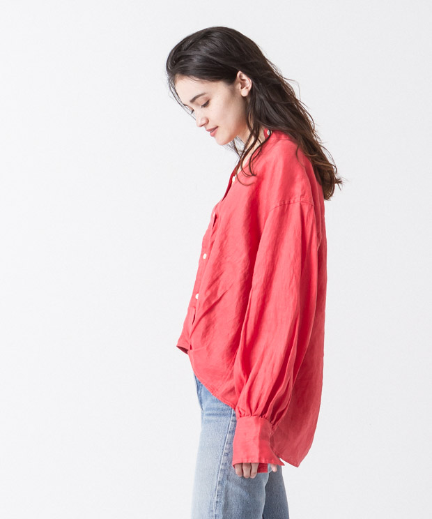 Linen Cache-Coeur Shirt - RED