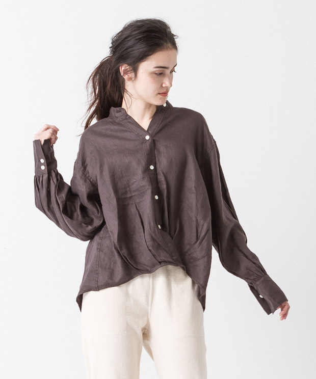 Linen Cache-Coeur Shirt - BROWN