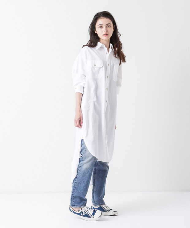 4.5oz Denim Work Shirt Dress - WHITE