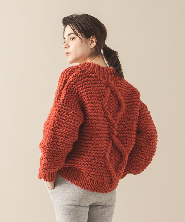 Hand Knit Cardigan - ORANGE