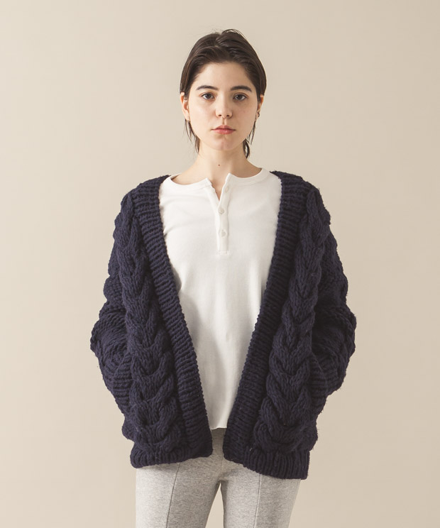 Hand Knit Cable Cardigan - NAVY