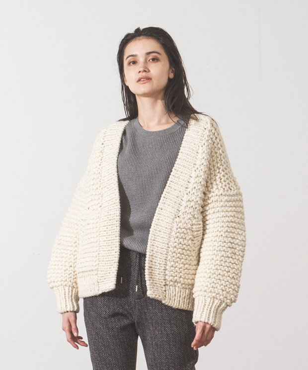 Hand Knit Cardigan - WHITE