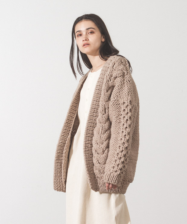 Hand Knit Cable Cardigan - BEIGE