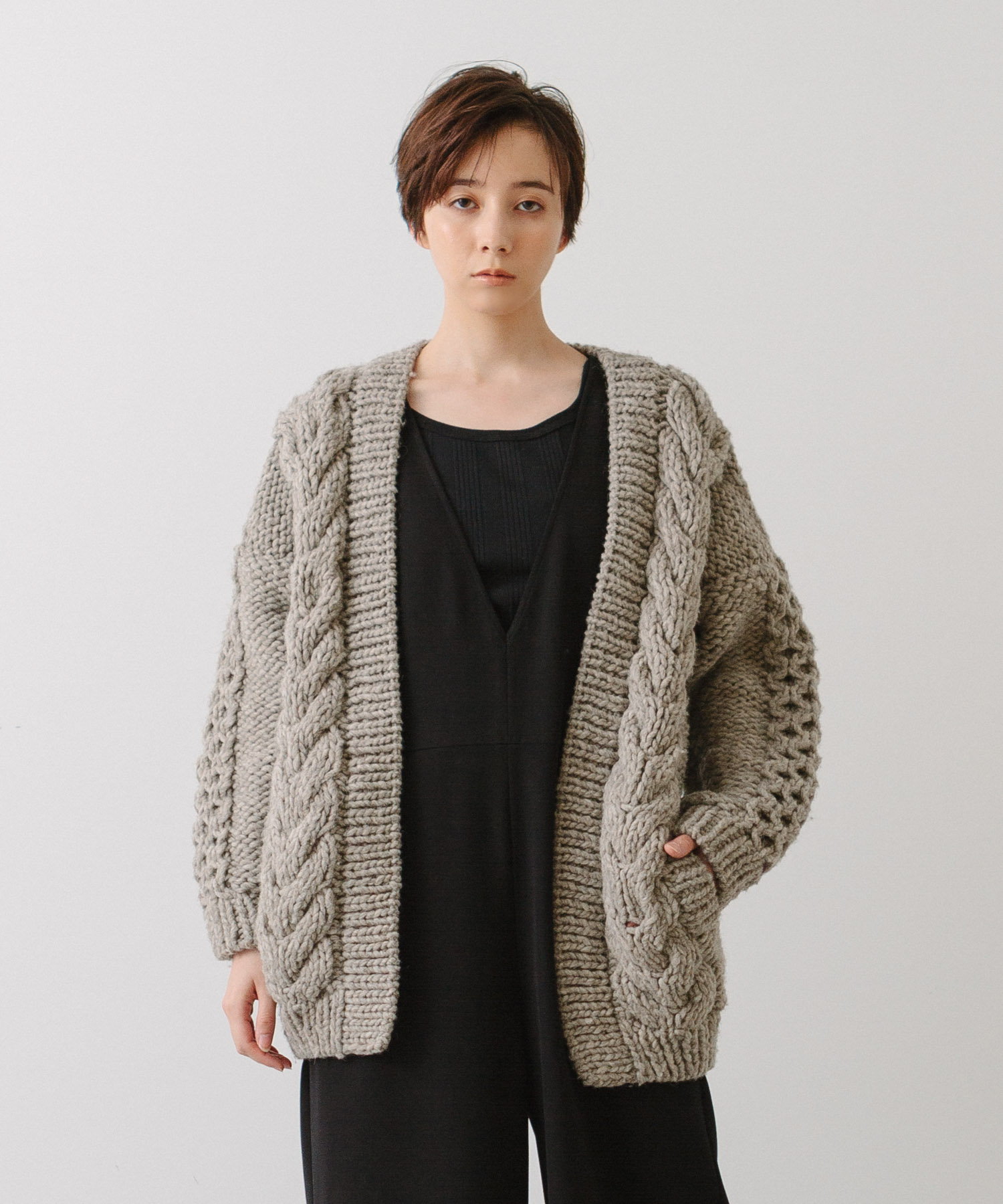 Hand Knit Cable Cardigan - GRAY
