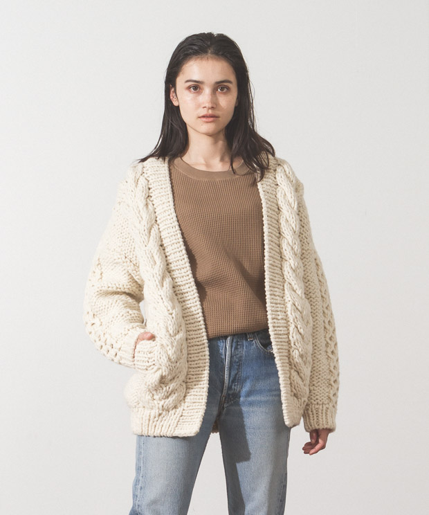 Hand Knit Cable Cardigan - WHITE