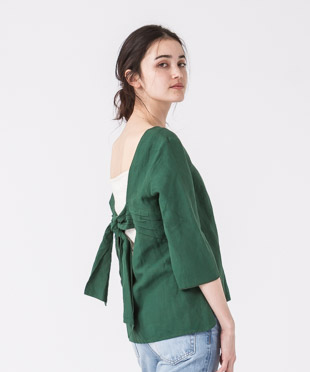 Back Ribbon Blouse - GREEN